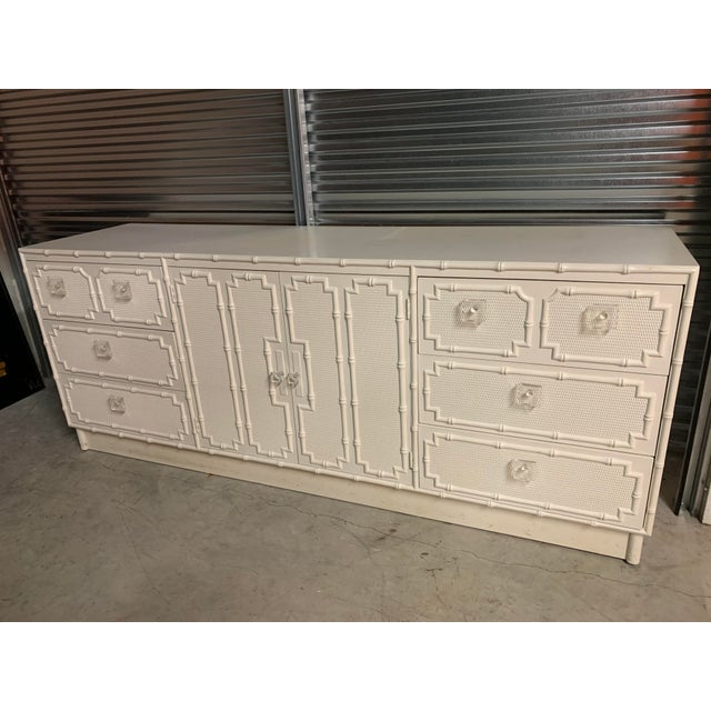 Hollywood Regency Faux Bamboo Dresser With Lucite Knobs For Sale - Image 3 of 12