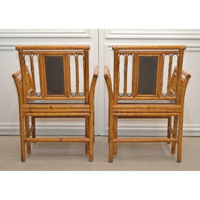 Maitland - Smith 1980s Maitland Smith Bamboo Chinoiserie Asian Chairs - a Pair For Sale - Image 4 of 11