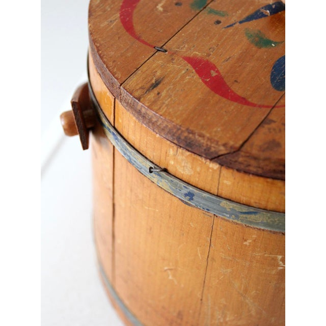 Wood Antique Painted Sugar Bucket For Sale - Image 7 of 10