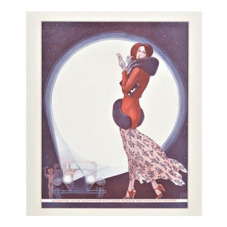 Matted Art Deco French Fashion Print For Sale