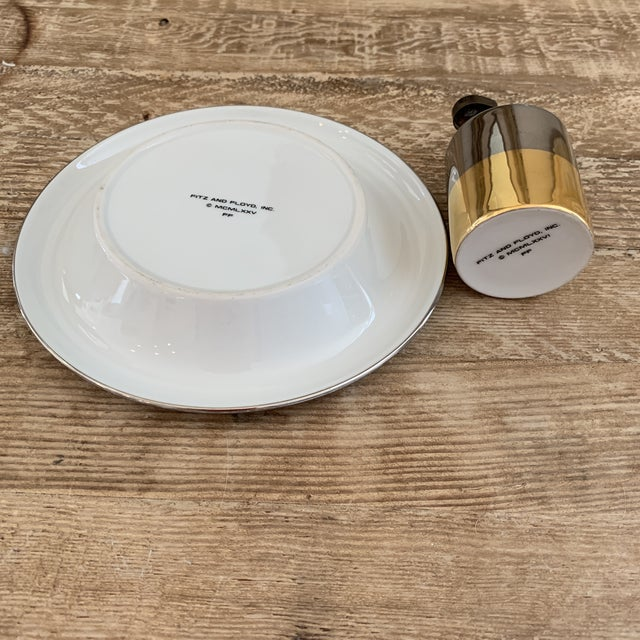 Mid Century Metallic Porcelain Fitz & Floyd Lighter and Ashtray For Sale In New York - Image 6 of 8