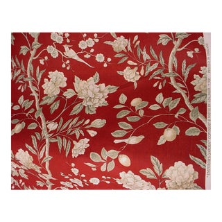 Gp & J Baker Emperor's Garden Red Cream Floral Linen Upholstery Fabric - 6 7/8 Yards For Sale