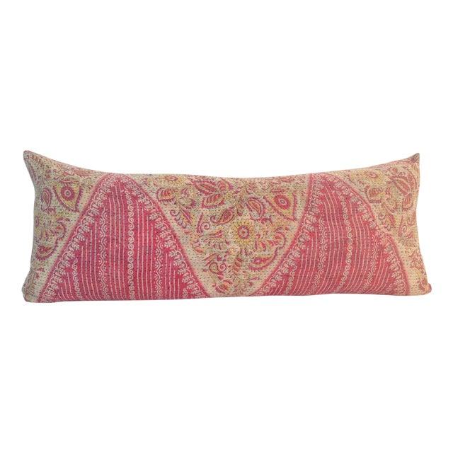 Vintage Block Printed Pink Kantha Quilt Pillow For Sale