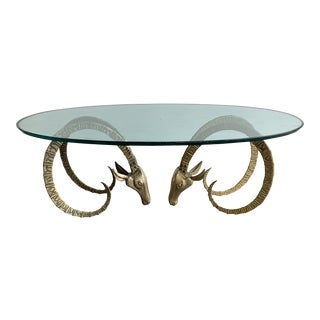 Hollywood Regency Brass Ibex Rams Head Coffee Table For Sale