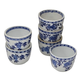 Mid-Century English Blue and White Chinese Teacups -Set of 6 For Sale