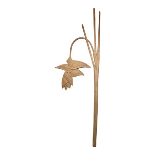 Vintage Wood Tropical Heliconia Flower Wall Art Relief For Sale