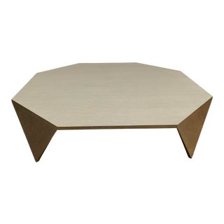 """Lauren Rottet for Decca Home Cerused Ash Grey Oak Veneer """"Origami"""" Square Coffee Table For Sale"""