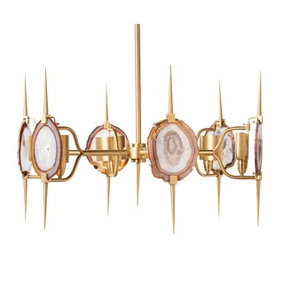 Contemporary 6-Light Brass and Agate Chandelier For Sale