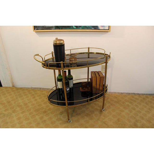 Mid-Century Modern Black Glass & Brass Bar Cart - Image 5 of 7