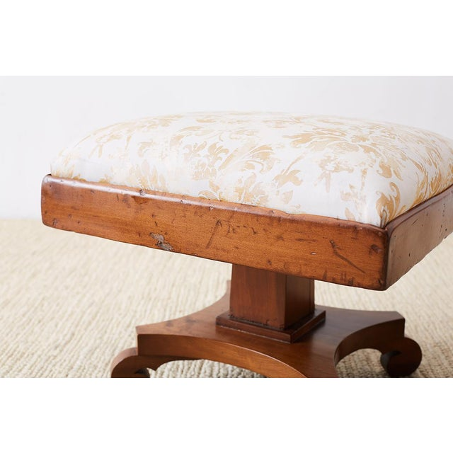 Late 19th Century Pair of Biedermeier Carved Footstools With Fortuny Upholstery For Sale - Image 5 of 13