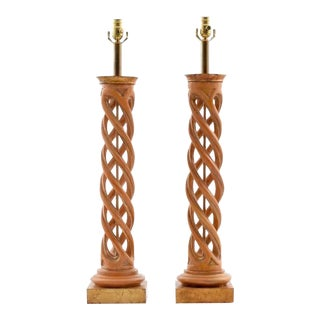 Pair of James Mont Helix Lamps