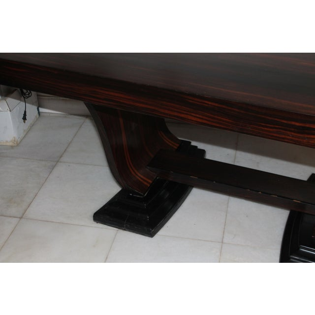 C 1930's French Art Deco Exotic Macassar Ebony Dining Table For Sale - Image 9 of 12