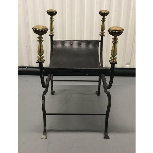 Gold Vintage Savonarola Leather and Iron Stool For Sale - Image 8 of 11