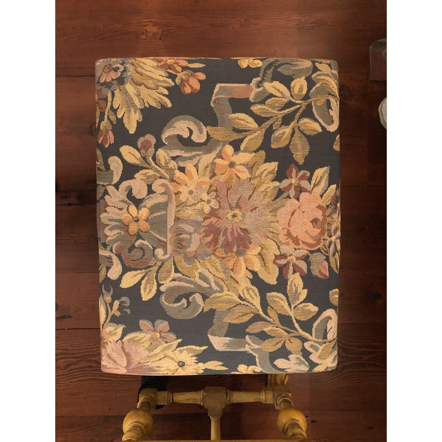 Pair of William and Mary Style Yellow-Painted Stools Height 20 inches, width 24 inches, depth 18 inches. Provenance:...