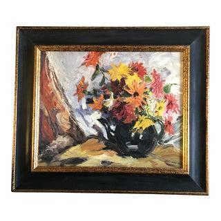 Vintage Original Mid Century Floral Still Life Painting Modernist Frame For Sale