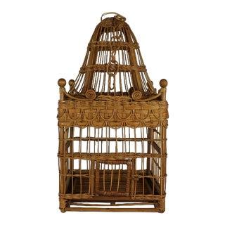 Vintage Wicker Birdcage For Sale