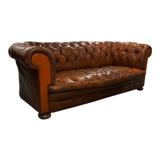 Transitional Straight Back English Leather Chesterfield Sofa For Sale
