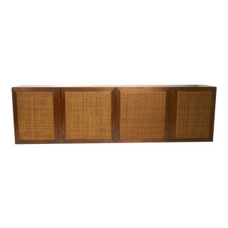 Free Floating Mid Century Wall Cabinet With Caned Doors Design After McCobb For Sale