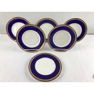 Tiffany Gold & Cobalt Blue Rimmed Dinner Plates - Set of 6 Preview