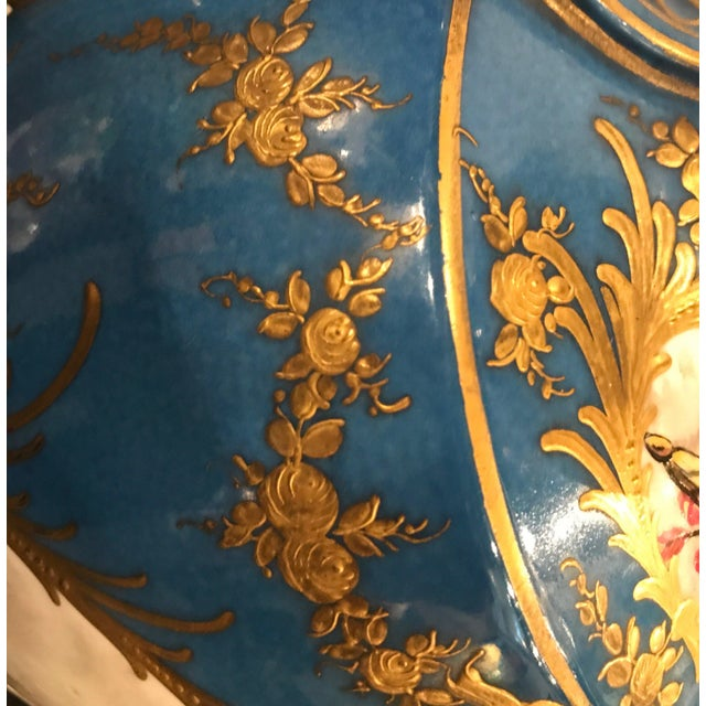 A Pair of Antique French Hand Painted Porcelain Mantle Urns For Sale - Image 10 of 13