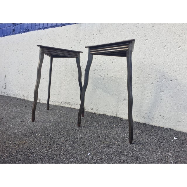 1990s Postmodern Will Stone Handmade Steel Side Tables - a Pair For Sale - Image 5 of 10