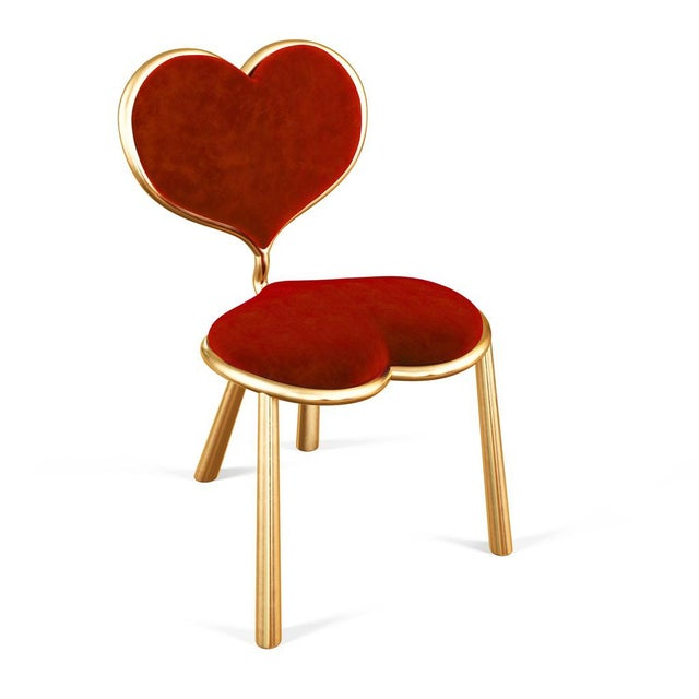 Red Cast Bronze Heart Chair by Artist Troy Smith - Contemporary Design - Limited Edition For Sale - Image 8 of 8
