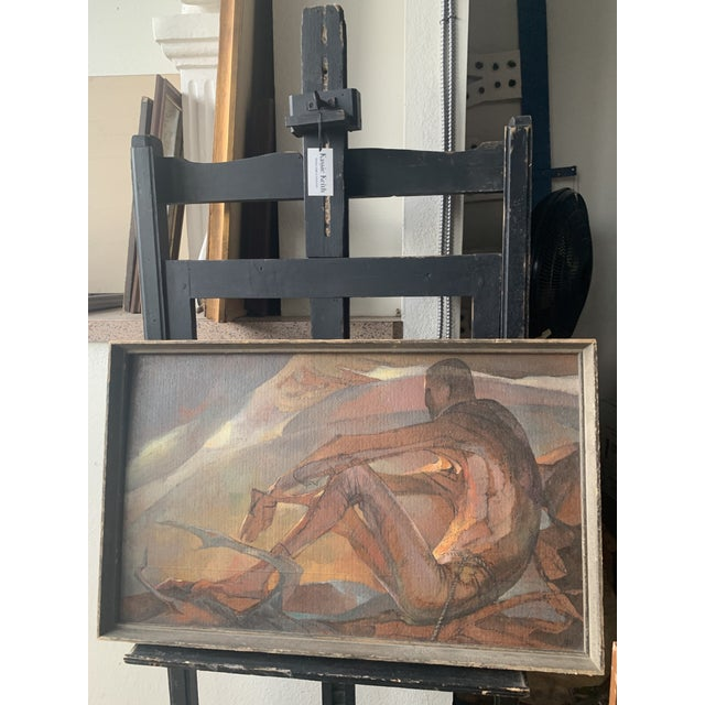 """1950s """"Afternoon Image"""" Abstract Nude and Sunset Landscape Oil Painting by Lou Rogers, Framed For Sale In Seattle - Image 6 of 6"""