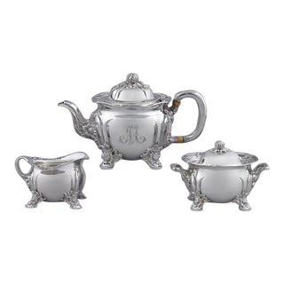 Chrysanthemum Sterling Silver Tea Set by Tiffany & Co. - 3 Pc. Set For Sale