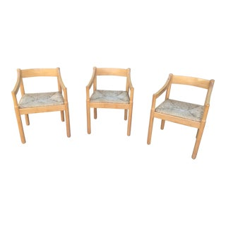 Cassina Vico Magistretti Beechwood Caramite Chairs - Set of 3