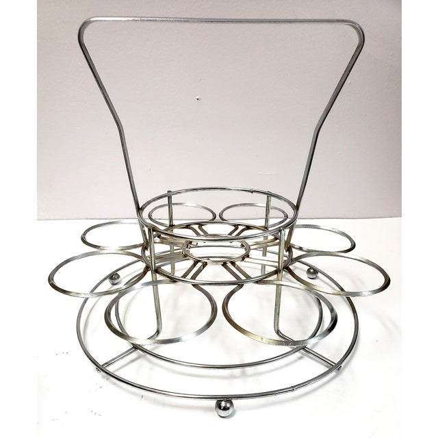 Metal Dorothy Thrope Mirrored Glases& Ice Bucket Set W/ Stand - Set for 8 For Sale - Image 7 of 10