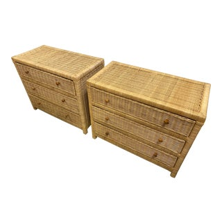Pair of Wicker Chest of Drawers From 1980's. For Sale