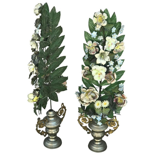 French Pair of French Tole Flowers For Sale - Image 3 of 6