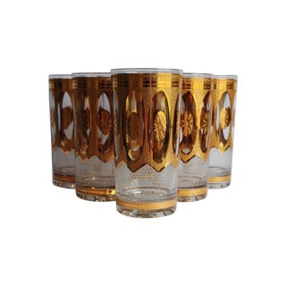 Vintage Gold Frost Glasses - Set of 6