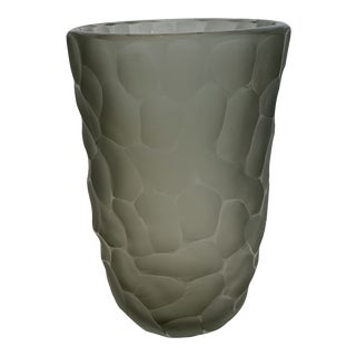 21st Century Smoke Gray Murano Crystal Vase (L) by Alberto Dona For Sale