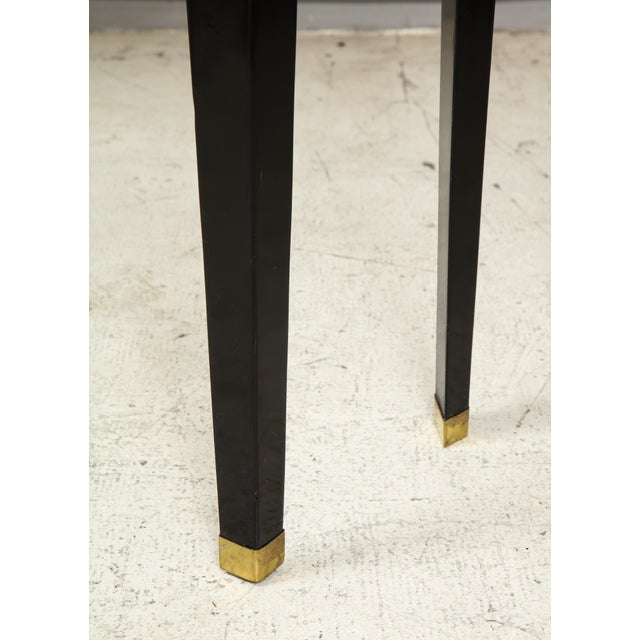 Gold Custom Ebonized Brass-Banded Consoles on Tapered Legs For Sale - Image 8 of 9