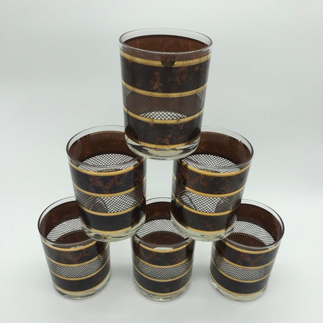 Awesome signed set of Georges Briard old fashioned glasses in amazing time capsule condition!