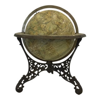 Antique American Model Globe on Iron Base For Sale