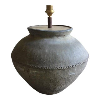 French Brownish Jar or Container Adapted as a Lamp, 20th Century For Sale