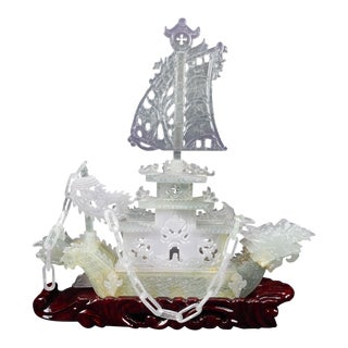 Gorgeous Chinese Intricate Purple Jade Fengshui Carved Dragon Boat Statue