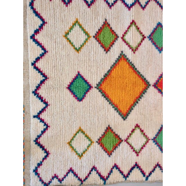 Boho Chic Vintage Handmade Moroccan Multi-Colored Wool Rug- 4′4″ × 7′2″ For Sale - Image 3 of 4