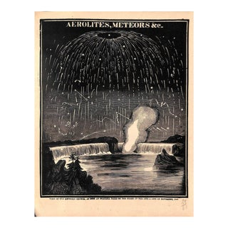 1889, Antique Astronomy, Aerolites & Meteors, Matted For Sale