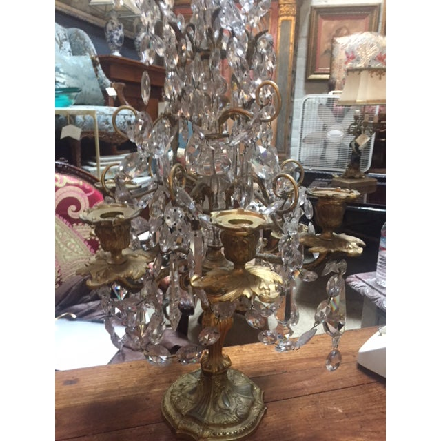 """Pair of Fine Early 19th Century French Bronze & Crystal Girondoles 6 Candle 31"""" Tall 16"""" Diameter"""