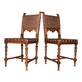 Austrian Oak and Leather Embossed Side Chairs - a Pair For Sale