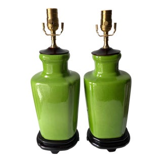 Vintage Chartreuse Chinoiserie Lamps-Pedestal Wood Base-A Pair For Sale