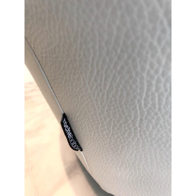 Animal Skin Edito Modernist White Leather Ottoman by Roche Bobois For Sale - Image 7 of 11