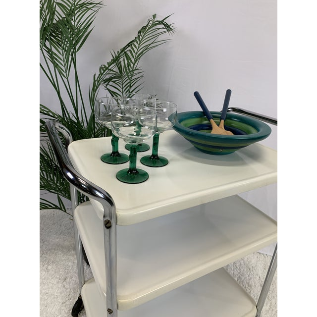 Mid-Century Modern Three-Tier Enameled Metal Serving Cart by Cosco Hamilton For Sale - Image 4 of 11