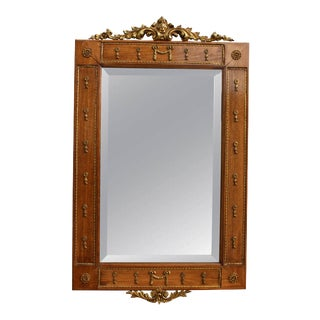 Spanish Combed Oak Mirror With Gilt Decoration
