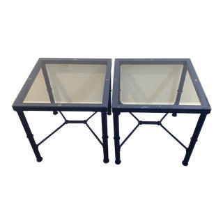 Royal Blue Glass Topped Metal Side Tables - a Pair For Sale