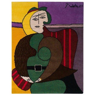 "Wool Tapestry after a Picasso Painting, ""Femme Assise Dans Un Fauteuil Rouge"" For Sale"