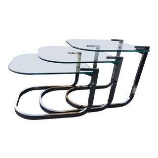 1960s Vintage Milo Baughman Nesting Tables - Set of 3 For Sale